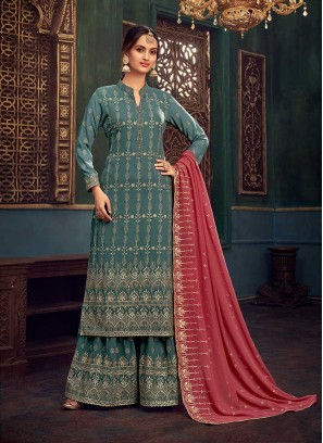 Turquoise Color Georgette Latest Palazzo Suit