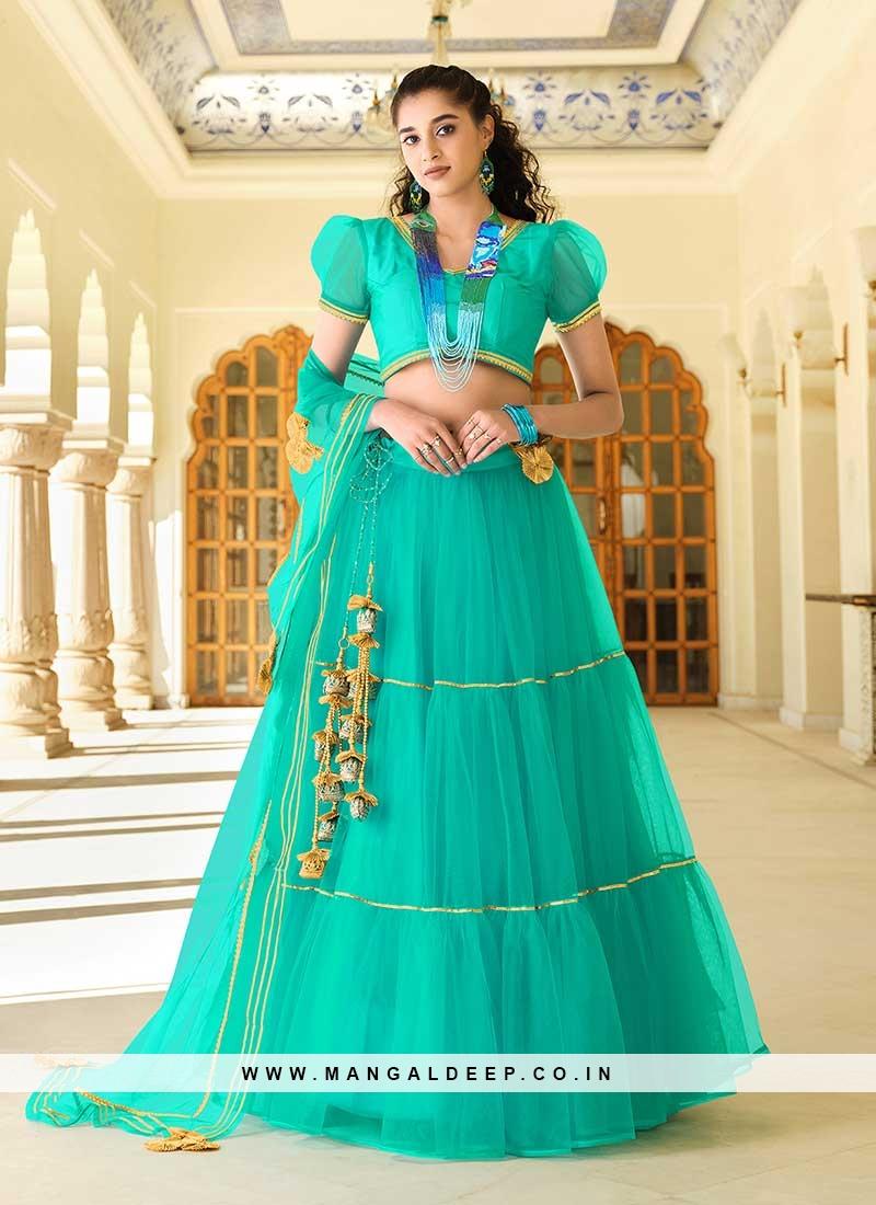 Turquoise Color Net New Design Lehenga
