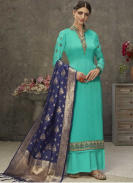 Turquoise Color Satin Suit