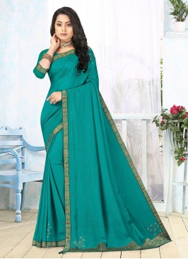 Turquoise Color Silk Daily Wear Saree