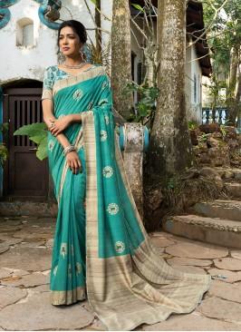 Turquoise Color Silk Dazzling Saree