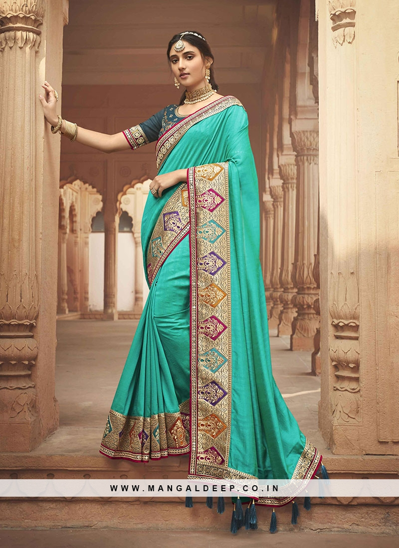 Turquoise Color Silk Fancy Designer Saree