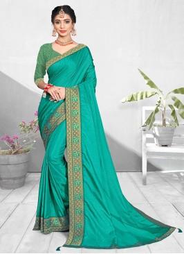Turquoise Color Silk Fancy Saree