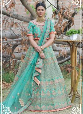 Turquoise Color Silk Zari Work Wedding Lehenga