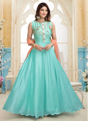 Turquoise Designer Party Wear Readymade Anarkali Suit