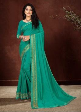 Turquoise Green Color Silk Elegant Saree