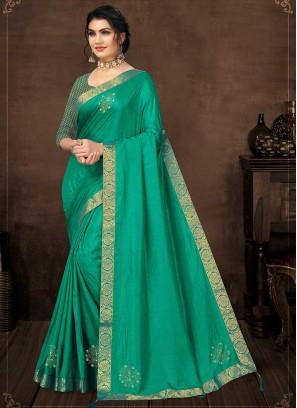 Turquoise Green Silk Latest Saree