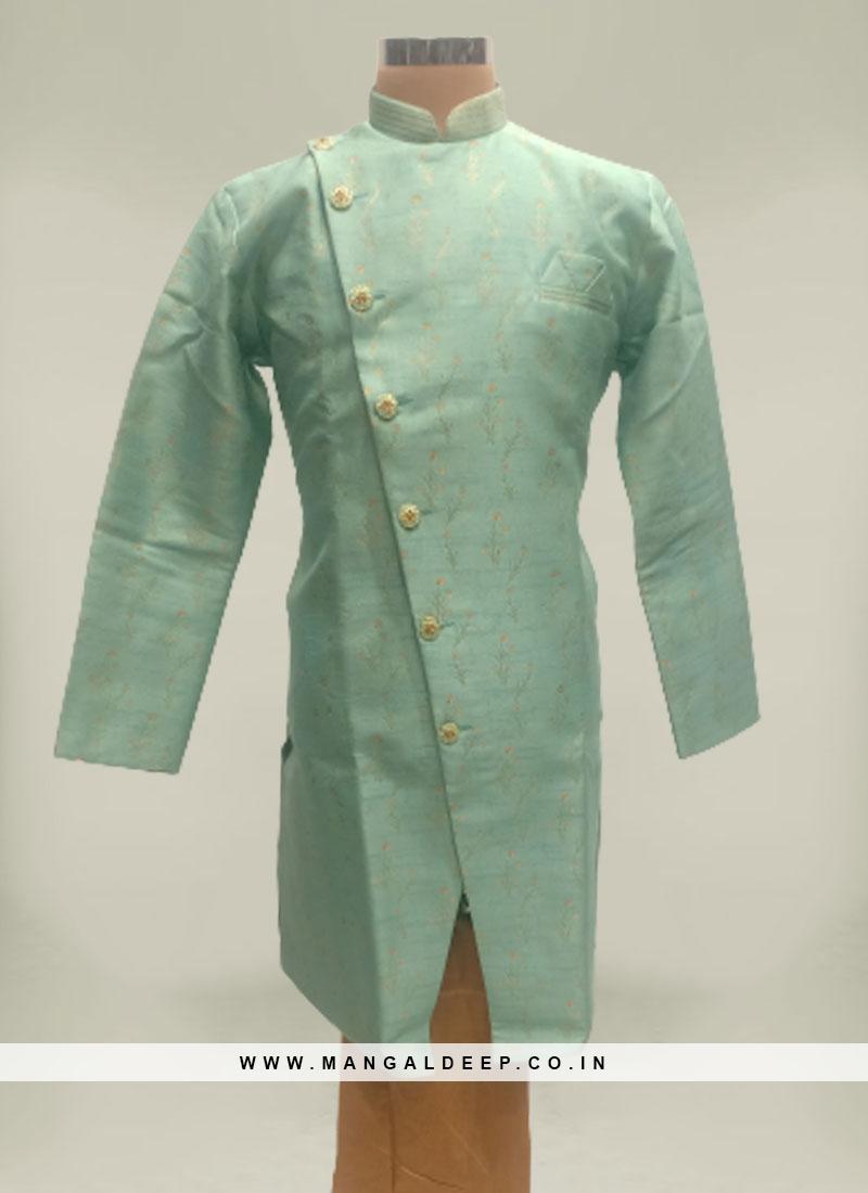 Turquoise Jacquard Mens Kurta