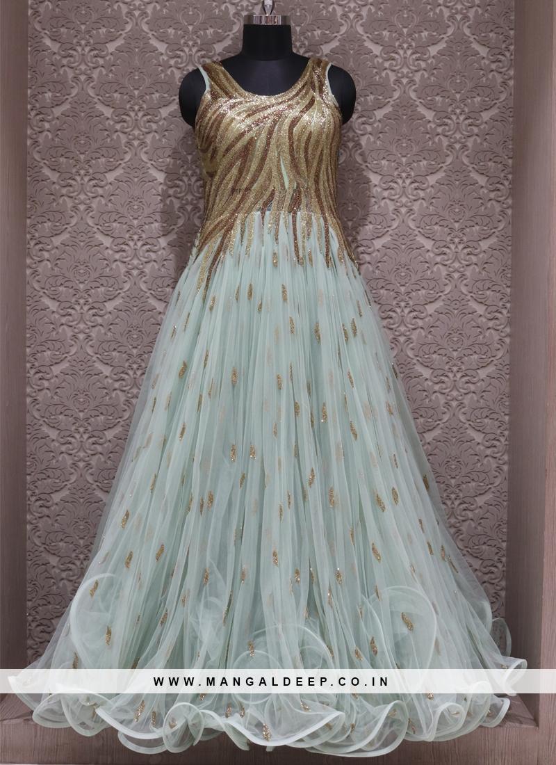 Turquoise Net Designer Wedding Wear Gown