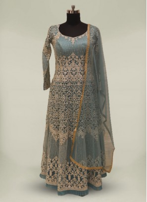 Turquoise Net Sequins work Anarkali Gown