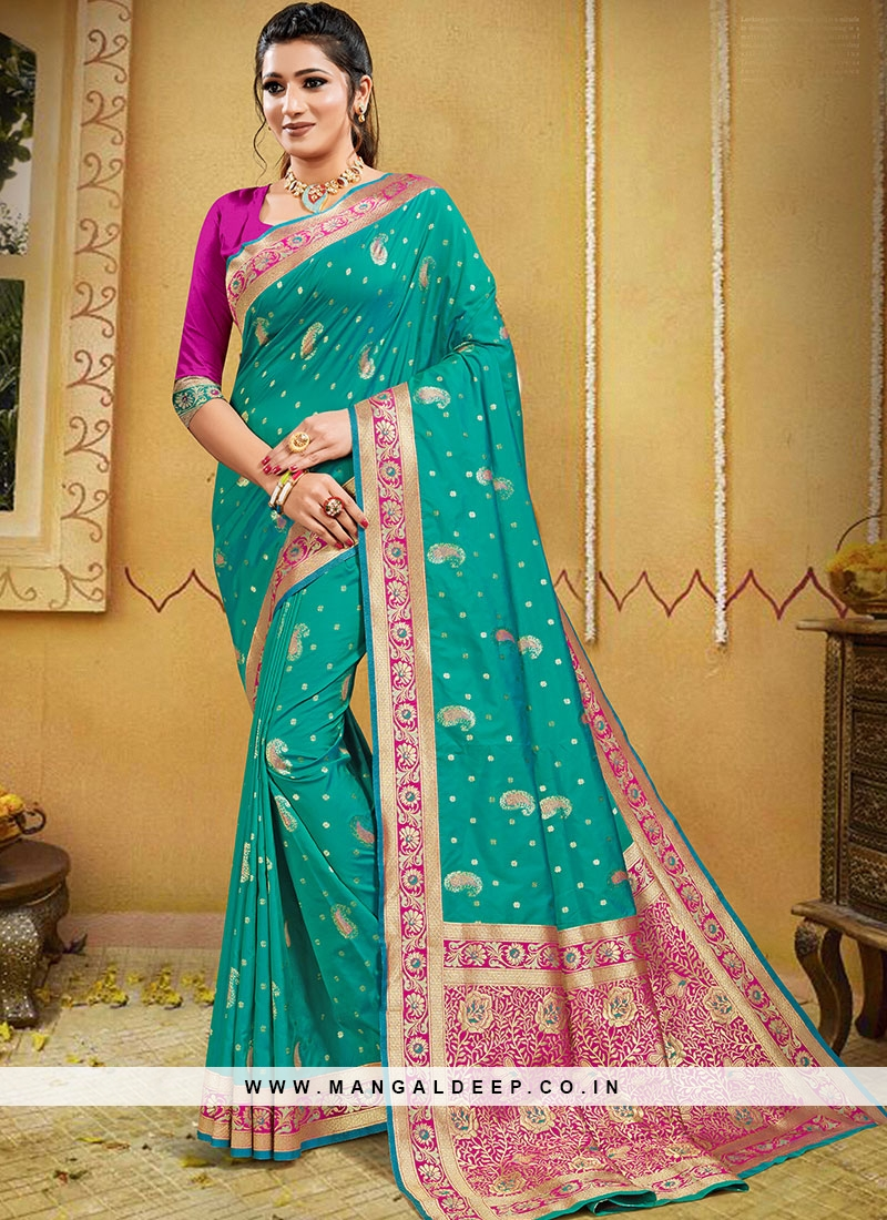 Turquoise Silk Zari Work Fancy Saree