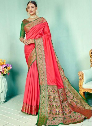 Two Tone Silk Saree In Pink Color
