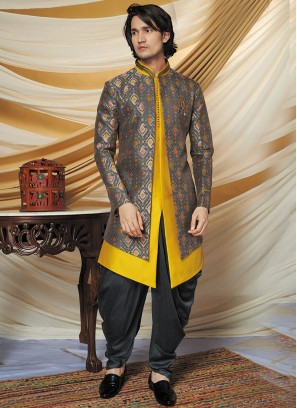 Vintage Grey And Yellow Indo western Set