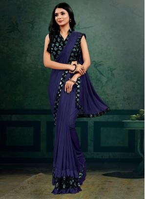 Violet Color Lyrca Bold Saree