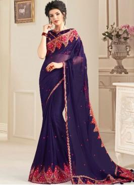 Violet Color Natural Fabric Wedding Wear Saree