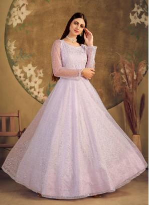 Violet Color Net Indian Gown