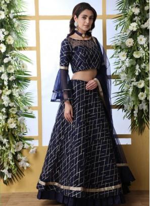 Wedding Bridal Wear Blue Color Designer Lehenga Choli