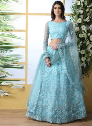 Wedding Bridal Wear Cyan Color Designer Lehenga Choli