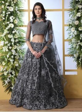 Wedding Bridal Wear Grey Color Designer Lehenga Choli