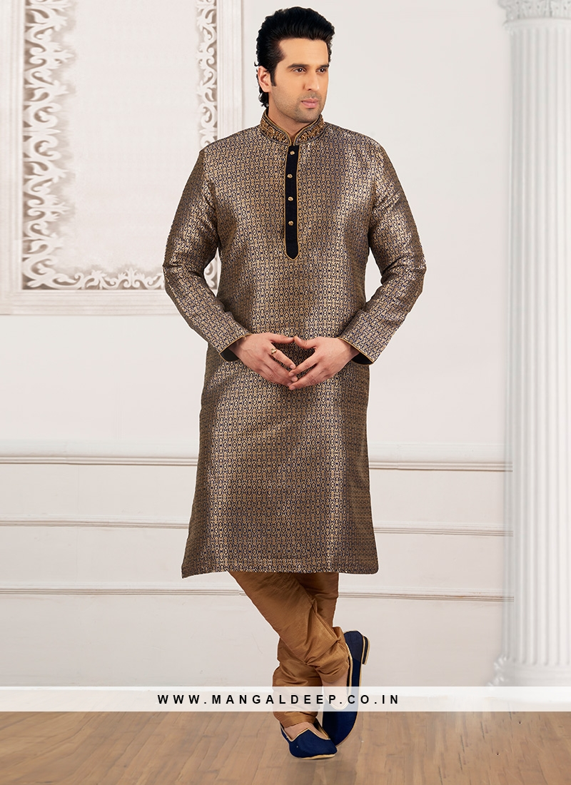 Wedding Function Wear Beige Color Kurta Payjama