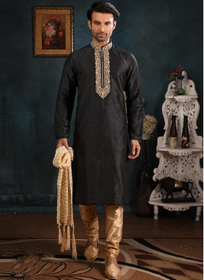 Wedding Function Wear Black Color Embroidered Kurta Pajama