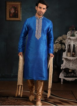 Wedding Function Wear Blue Color Embroidered Kurta Pajama