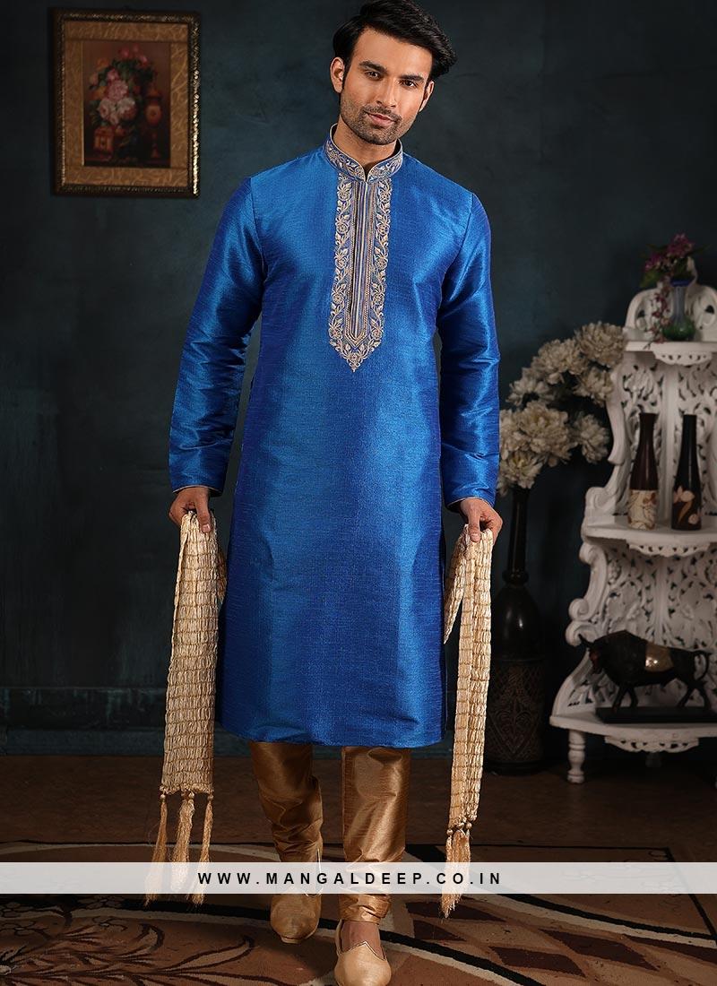 Wedding Function Wear Blue Color Embroidered Kurta Pajama