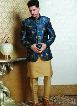 Wedding Function Wear Blue Color Jodhpuri Kurta Pajama