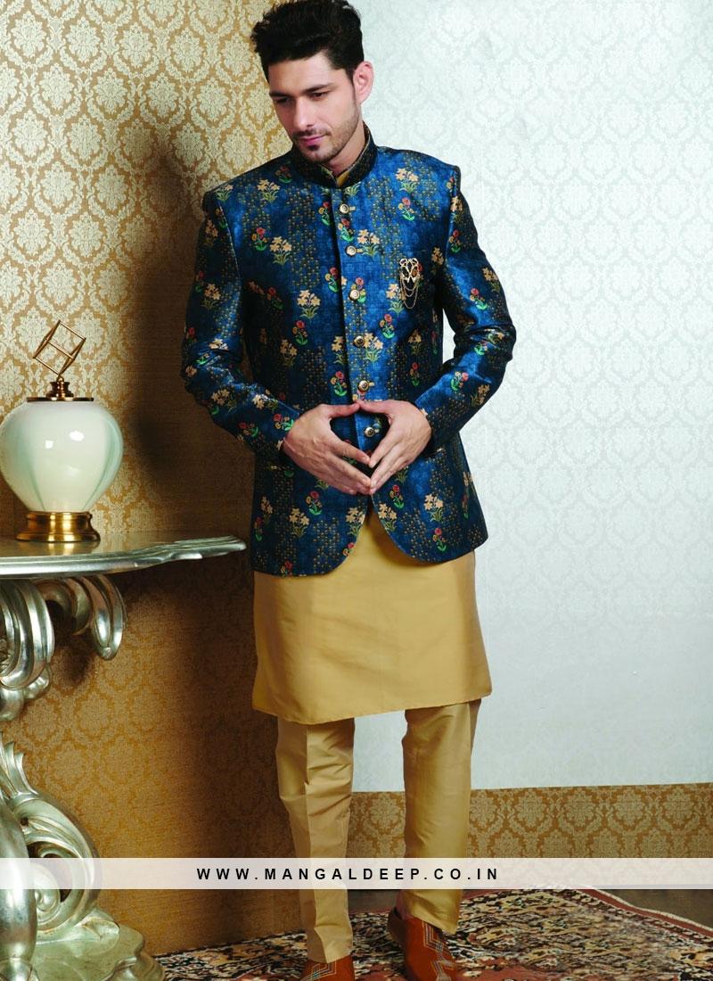 Wedding Function Wear Blue Color Jodhpuri Kurta Pajama