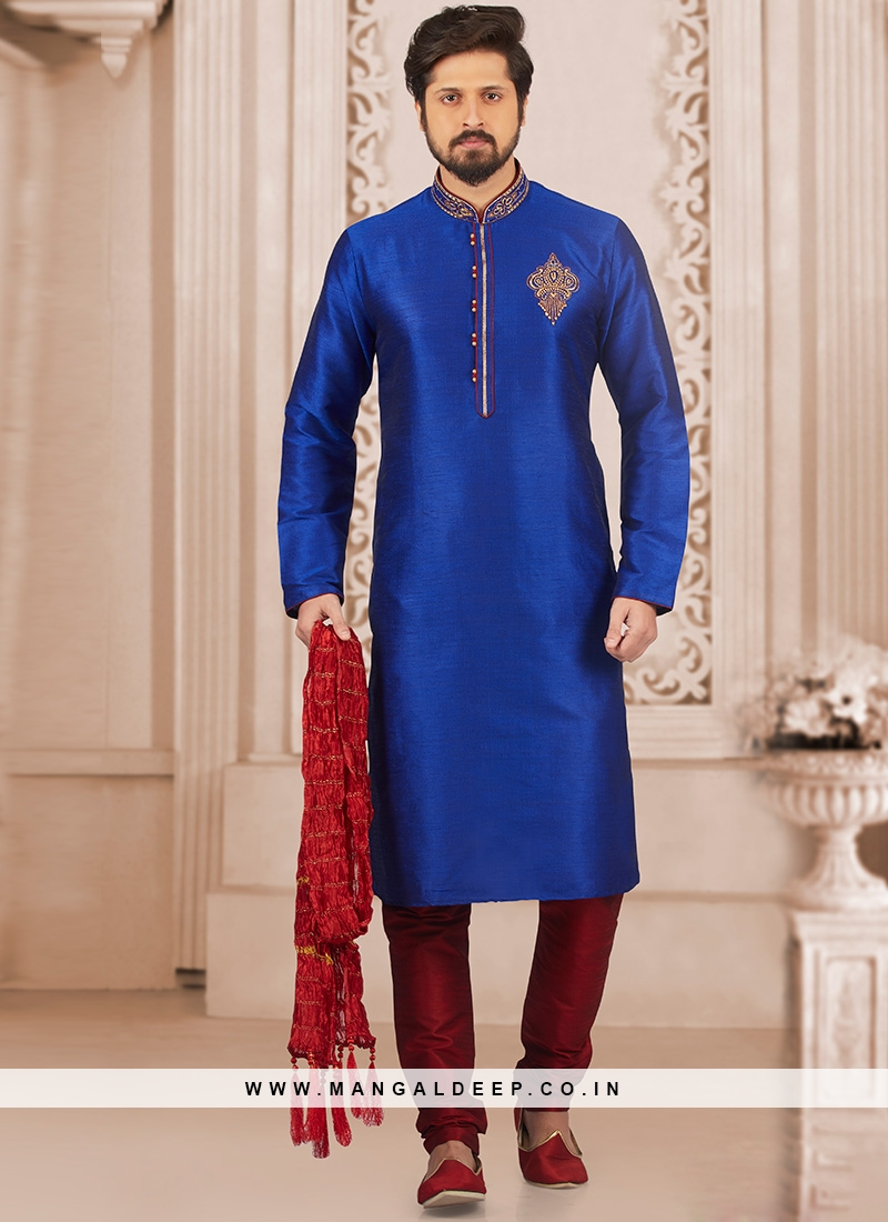 Wedding Function Wear Blue Color Kurta Payjama