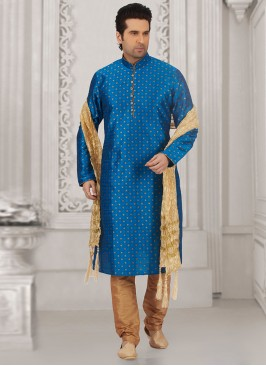 Wedding Function Wear Blue Color Kurta Payjama