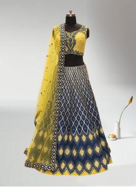 Wedding Function Wear Blue Color Lehenga Choli