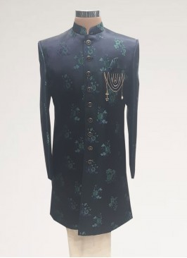 Wedding Function Wear Blue Color Men Indo Western Kurta Pajama
