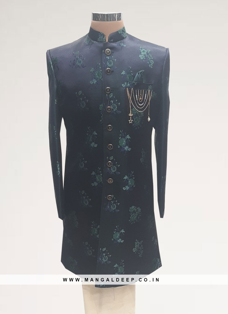 Wedding Function Wear Blue Color Men Indo Western Kurta Pajama