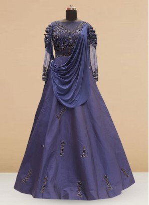 Wedding Function Wear Blue Color Silk Gown