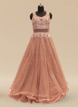 Wedding Function Wear Brown Color Net Gown