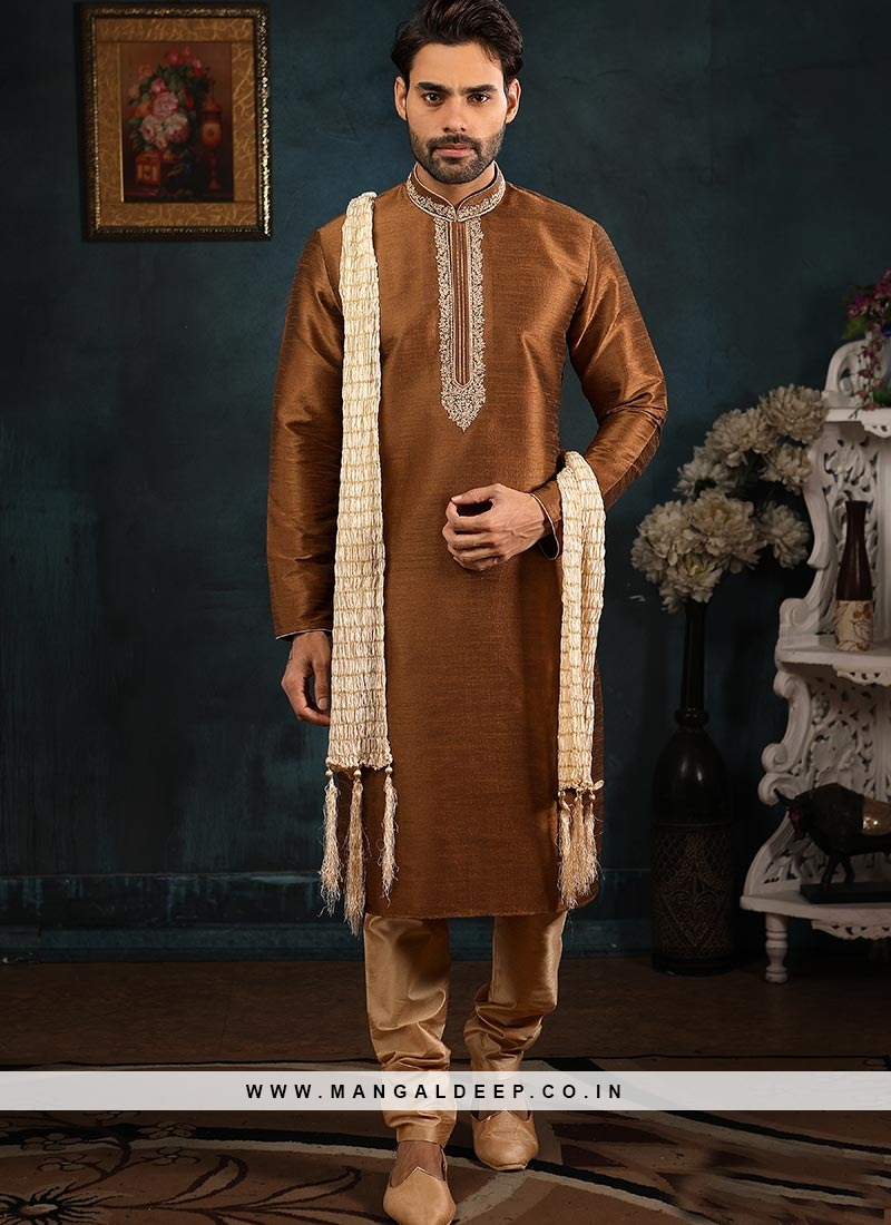 Wedding Function Wear Coffee Color Embroidered Kurta Pajama