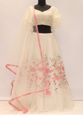 Wedding Function Wear Cream Color Designer Lehenga Choli