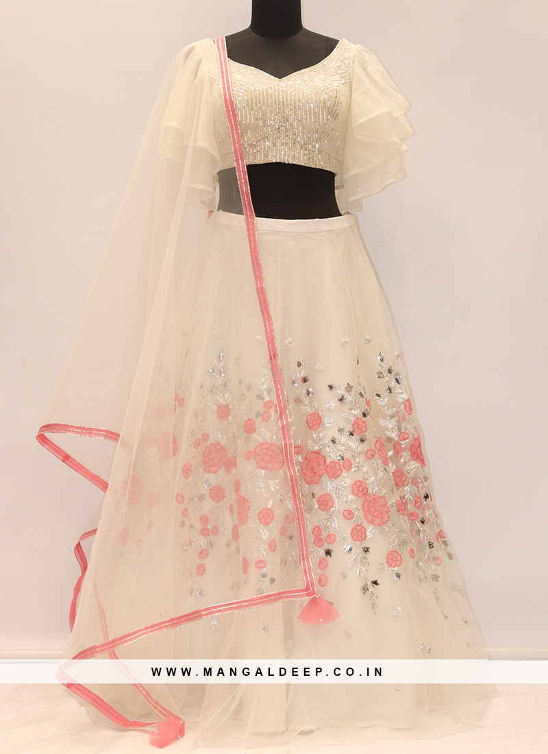 Wedding Function Wear Cream Color Designer Lehenga Choli