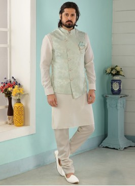 Wedding Function Wear Cream Color Kurta Pajama With Jacket