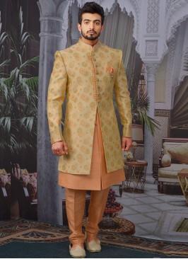 Wedding Function Wear Gold Color Designer Indo Western For Men