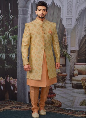 Wedding Function Wear Gold Color Designer Indo Western For Men