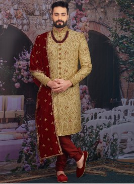 Wedding Function Wear Gold Color Designer Sherwani For Men