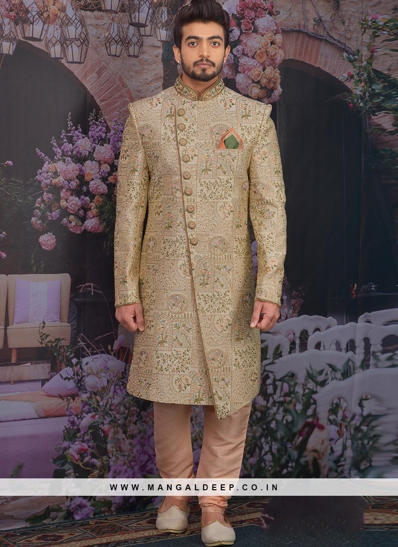Wedding Function Wear Gold Color Designer Sherwani For Men