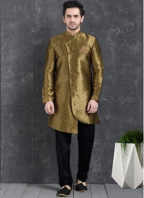 Wedding Function Wear Gold Color Indo Western Kurta Pajama