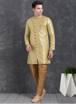 Wedding Function Wear Gold Color Indo Western Kurta Pajama