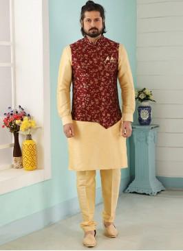 Wedding Function Wear Gold Color Kurta Pajama With Jacket