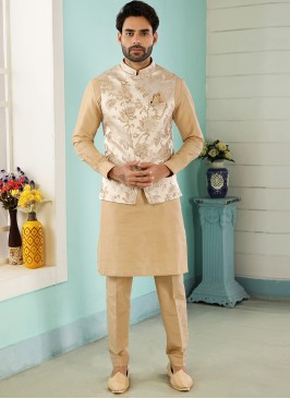 Wedding Function Wear Gold Color Kurta Pajama With Jacket