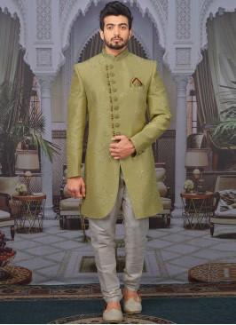 Wedding Function Wear Green Color Designer Indo Western For Men