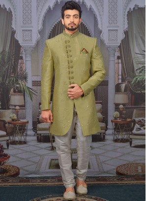 Wedding Function Wear Green Color Designer Indo Western For Men
